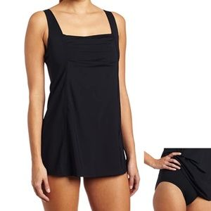 Calvin Klein Women's Pleat Front Swimdress Black